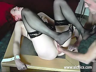 Skinny wife fist fucked in bondage