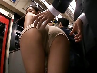 censored Rina Hukada groped on train thighjob