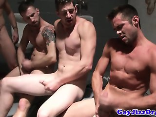 Gaysex hunks piss and cum after fuckfest