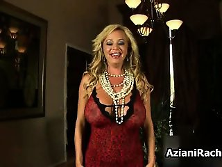 Hot blonde milf in lingerie gets horny part1