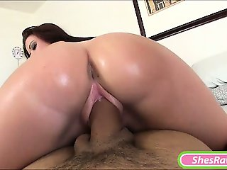 Big ass GF receives cum on her big boobs after good fucking