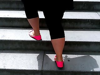 BBW sexy fat legs big ass walking in the city 2