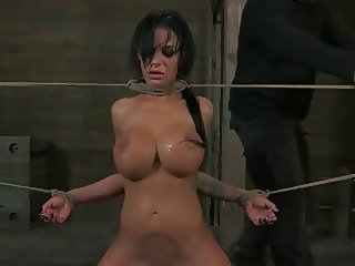Tied up & big tits made to take it down her throat DTD