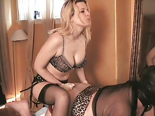 Blonde goddess with pathetic slave