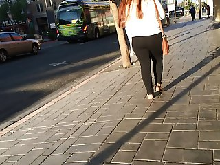 Clothed 18 year old, candid, big butt in black tights