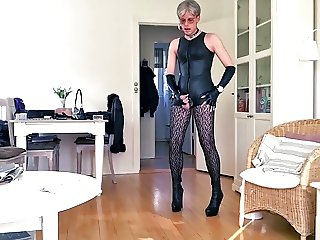 Sissy humiliated in sexy leather 1