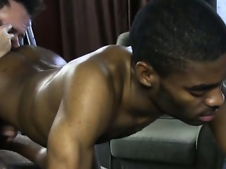 Straight ebony jock enjoys gay massage