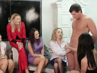 Cfnm party babes get cumshot