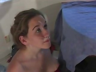 Teen cheerleader facial