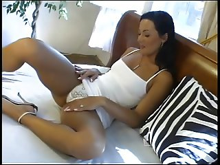 Gorgeous fit brunette slut does double anal with guy and friend