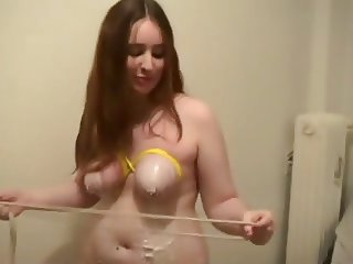 Cute young bbw gets her big boobies punished