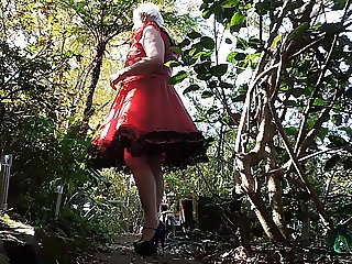 Sissy Ray outdoors in Red Dress