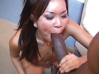 Asian whore fucking monster black cock