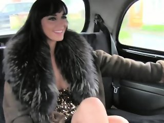 Hooker fucking in fake taxi in public garage