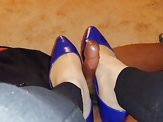 Pantyhose and Flats BBC Footjob Shoejob 2