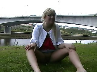 Geordie lass Lena fingering outside 5