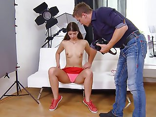 Teen Brunette Gets Photoshoot And Anal Sex