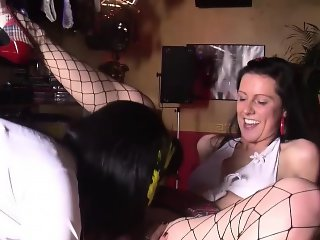 A couple of horny lesbians finger each other on the bar of