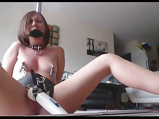 Tied and gagged girl and her toy