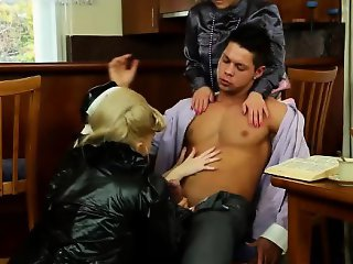 Hot group fucking for nun in latex