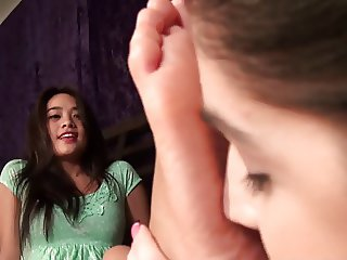 Tiny Asian feet getting lesbian worship