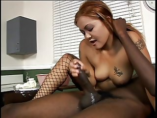 Sexy bitch blows smoke while sucking black cock
