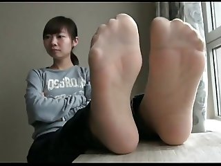 asian nylon and bare feet n soles