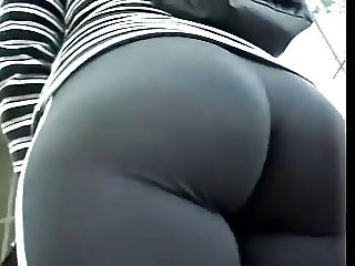Hot Sexy Heavy Bottom Girl in Tight Pants Outside
