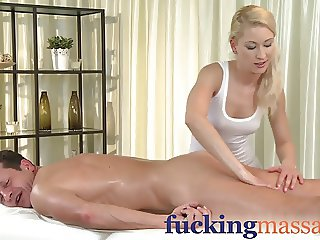 Massage Rooms Skinny blonde has tight pussy filled in steamy