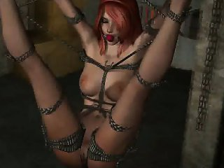 Tied up 3D cartoon redhead babe getting fucked hard