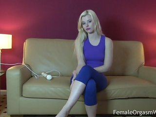 Hot Portuguese Blonde Striptease and Orgasms