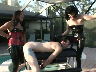 sexy mistresses tape ass open for pegging hardcore femdom