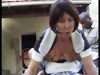 french granny maid anally fucked outdoor