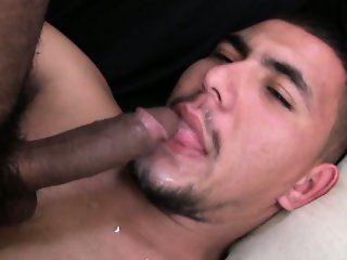 Hot straight masculine latino guy gets sucked by another sex