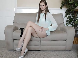 Legs stocking tease sexy brunette