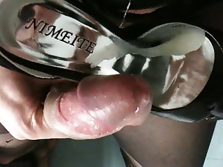 Cum on shoes with nylon