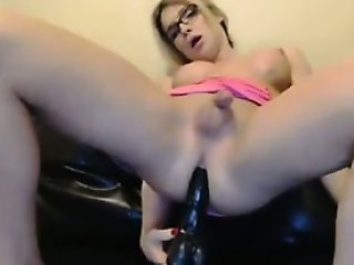 Blonde Shemale And Her Dildo