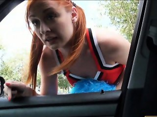Hitchhiking cheerleader receives a facial after hard fucking