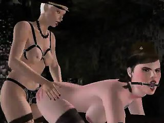 Sexy gagged 3D cartoon brunette babe getting fucked