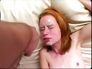 Flat top redhead sprayed with sperm