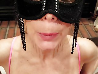 Mask Cock sucker Drains Cum and plays with breasts