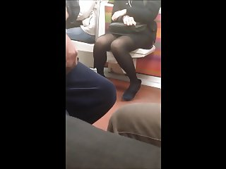 Candid Asian in black Pantyhose French Subway