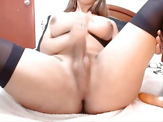 Busty latin shemale with long cock jerking off shows precum