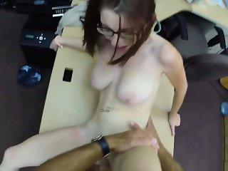 Big natural tits babe in glasses pawns her pussy and fucked