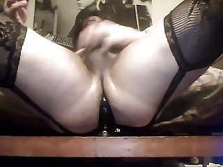 crossdresser taking it up the ass with big dildo