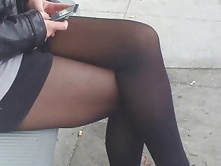candid legs pantyhosed girl texting