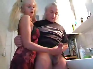 Young Girl Milks Old Man WF