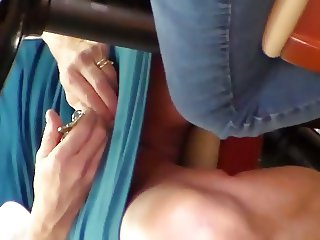 Mature legs open showing thighs