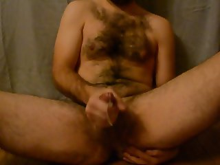 Humiliated Hairy Fat Boy Cum Shot