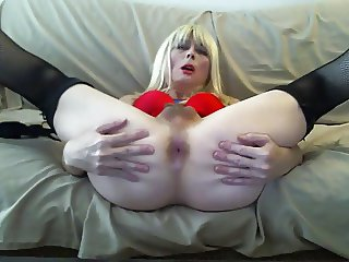 Sexy Tasha Schoolgirl Blond Crossdresser Showing Red Hot